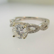 14k White Gold .91ct GIA Certified Round Brilliant Cut Diamond Ring with Twisting Diamond Band with Wedding Band Size 7