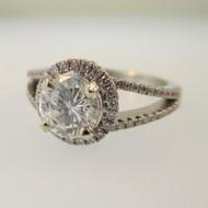 18k White Gold Natalie K 1.05ct Round Brilliant Cut Diamond Halo Ring Size 6 1/2