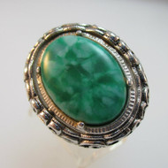 Silver Tone Sarah Coventry Green Stone & Hematite Flip Ring Expandable