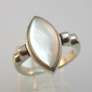 Sterling Silver Flip Mother of Pearl Black Onyx Ring Size 5.75
