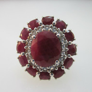 Sterling Silver Large Ruby Oval Halo Ring Size 7