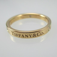 Tiffany & Co. 18k 750 Rose Gold with 3 Diamond Band Size 8
