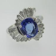 Platinum 1.43ct Tanzanite and Diamond Ring Size 8 1/2