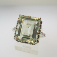 10k White Gold Green Quartz Ring with Diamond Accents Size 7