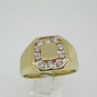 18k Yellow Gold Approx .75ct TW Round Brilliant Cut Diamond Band Ring Size 12 3/4