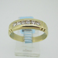 14k Yellow Gold Band with Diamond Accents Size 11