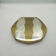 Vintage Empty Elgin 2-Tone Ladies Hexagon Makeup Powder Compact Etched Engraved