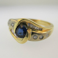 14k Yellow Gold and White Gold Sapphire and Diamond Ring Size 7