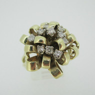 14k Yellow Gold Approx 1/3ct TW Round Brilliant Cut Diamond Fashion Ring Size 8 1/2
