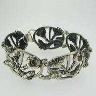 """Sterling Silver Danecraft Floral 7 1/2"""" Bracelet"""