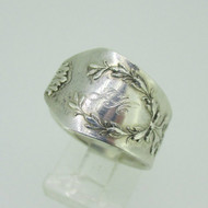 Silver Plated Spoon Expandable Initial Ring