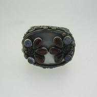 Sterling Silver Sajen Mother of Pearl Rhodolite Garnet Ruby Expandable Ring