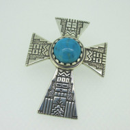 Sterling Silver Carolyn Pollack Turquoise Cross Enhancer Pendant