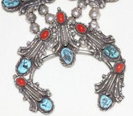 Vintage Old Pawn Turquoise Red Coral & Sterling Silver Squash Blossom Necklace & Ring Set Marked FNT size 9.75
