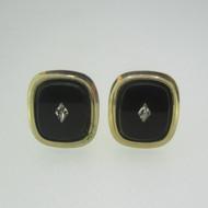 Gold Tone Black Stone Cubic Zirconia Accent Cufflinks