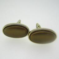 Gold Tone Brown Stone Cufflinks