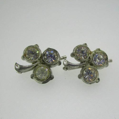 Silver Tone Cubic Zirconia Clover Cufflinks