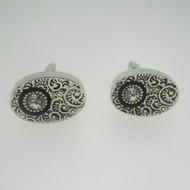 Silver Tone Cubic Zirconia Cufflinks