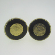 Gold Tone Golden Black Circle Center Cufflinks