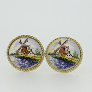 Gold Tone Holland Windmill Cufflinks