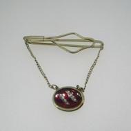 Gold Tone Red Stone Dangle Tie Clip Pin