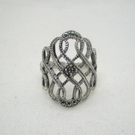 Sterling Silver Marcasite Statement Ring Size 6 1/4