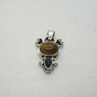 Sterling Silver Tigers Eye Amethyst Southwest Style Charm Pendant