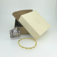 Gold Tone Sterling Vicenza Silver Thin Hinged Bangle Bracelet in QVC Box w Pouch