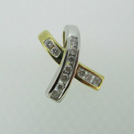 14k Yellow and White Gold Two Tone Approx .20ct TW Round Brilliant Cut Diamond X Pendant