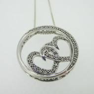 Sterling Silver Double Heart Diamond Love Circle Pendant Necklace