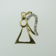 10k Yellow Gold Angel Pendant with Diamond Accent
