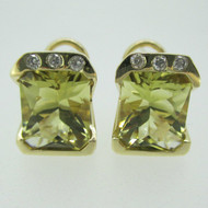 14k Yellow Gold Citrine Earrings with Diamond Accents Stud Lever Back Earrings