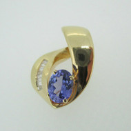 14k Yellow Gold Oval Tanzanite Omega Slider with Diamond Accents