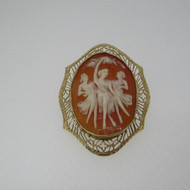 10k Yellow Gold Cameo Three Graces Pin Brooch Pendant