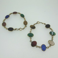 Vintage 12k Gold Filled Two Scarab Bracelets Multicolored Carved Stones Unsigned
