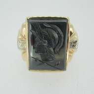 10k Yellow Gold Hematite Intaglio Men's Band with Diamond Accents Ring Size 9 3/4