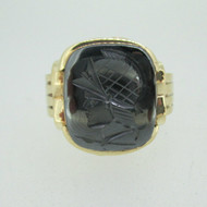 10k Yellow Gold Hematite Intaglio Men's Band Ring Size 12