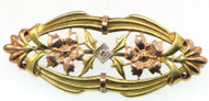 Victorian 10k Rose Gold Blossoms Yellow Gold Leaves Surround Diamond Brooch Pin