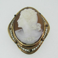12k Yellow Gold Filled Cameo Pin Pendant