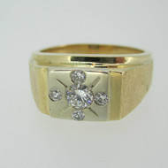 14k Yellow Gold Approx .30ct Round Brilliant Cut Diamond Men's Band Ring Size 11 1/4