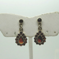 Vintage Gold Filled Red Orange Czech Garnet Teardrop Shaped Earrings Unsigned