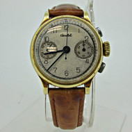 Vintage Ed Heuer and Co. Aerotel JXS 17j Swiss Chronograph 14k Solid Gold Watch (B4932)