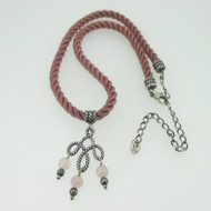 Sterling Silver Carolyn Pollack Pink Rayon Cord Necklace