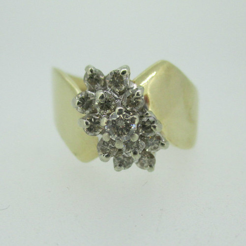 14k Yellow Gold Approx .50ct TW Cluster Ring Size 7 1/2