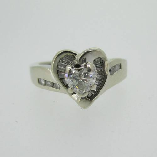 14k White Gold Approx .50ct TW Heart Shaped Diamond Ring Size 6 1/2
