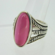 Sterling Silver Barse Pink Oval Stone Ring Size 12
