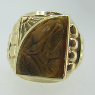 14k Yellow Gold Tigers Eye Intaglio Ring Size 11