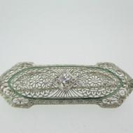 Vintage 14k Filigree Pin Brooch with Approx 1/3ct European Cut Diamond
