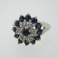 10k White Gold Sapphire and Diamond Cluster Ring Size 6 1/2