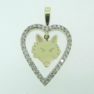 14k Yellow Gold Approx .50ct TW Wolf Heart Pendant